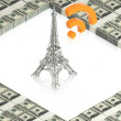 Stock Photo: Wifi tower with dollars
