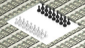 Chess battle on paper dollars — Stock Photo