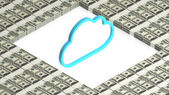 Cloud with paper dollars — Stock Photo