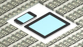 Tablet pc and phone on dollars — Stock Photo