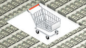 Shopping cart on paper dollars — Stock Photo