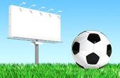 广告广告牌与足球球 — 图库照片