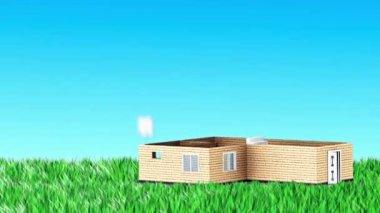 在草地上建房子 — 图库视频影像