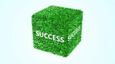 Green cube Success 360 loop animation — 图库视频影像