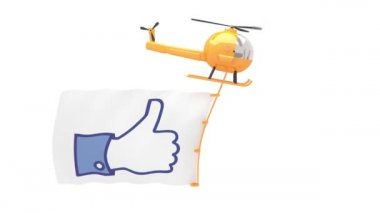 Helicopter with like button flag — Stock Video