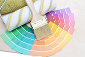 Paintbrush and colorful paint — Stok fotoğraf