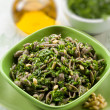 Integral pasta with arugula pesto, selective focus — Stock Photo
