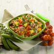 Cold rice salad with tuna and pineapple — Stock Photo