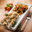 Skewer with eggplants salad — Stock Photo