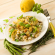 Barley risotto with mushroom artichoke white meat and green bean — Stock Photo