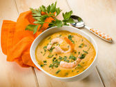 Shrimp soup with parsley — Stock Photo