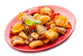 Grilled onion and capsicum on white background — Stock Photo