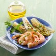 Appetizer with shrimp and grilled endive salad — Stock Photo