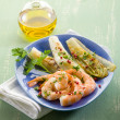 Appetizer with shrimp and grilled endive salad — Stock Photo #30305905