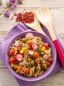 Cold mixed pasta salad with tuna — Stock Photo