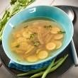 Miso soup with green beans zucchinis and celery, vegetarian food — Stock Photo #30387841
