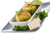 Zucchinis stuffed with tofu cheese, vegetarian food — Stock Photo