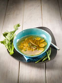 Miso soup with green beans zucchinis and celery, vegetarian food — Stock Photo