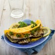 Stock Photo: Sandwich with chicken and grilled eggplant,healthy food