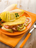 Sandwich with endive salad and smoked salmon — Stock Photo