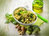 Fusilli with broccoli and almond sauce, selective focus — Stock Photo