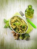 Fusilli with broccoli and almond sauce — Stock Photo