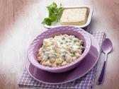 Russian salad with tofu cheese — Stock Photo