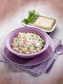 Russian salad with tofu cheese, selective focus — Stock Photo
