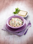 Russian salad with tofu cheese — Stockfoto