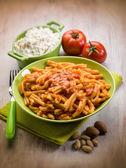 Csarecce with ricotta ad almond sicily recipe, selective focus — Stock Photo
