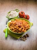 Csarecce with ricotta ad almond sicily recipe — Stock Photo