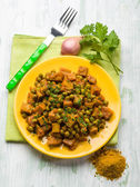 Seitan stew with peas and curry, vegetarian food — Stock Photo