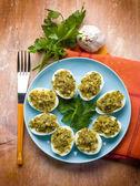 Stuffed eggs traditional sardinia recipe — Stock Photo