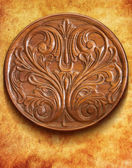 Carved wooden table — Stock Photo