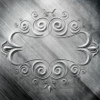 Silver metal plate with classic ornament — Stock Photo