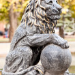 Lion sculpture in park. Classic style — Stock Photo