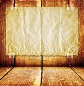Drewniany pokój z papieru na ścianie — Zdjęcie stockowe