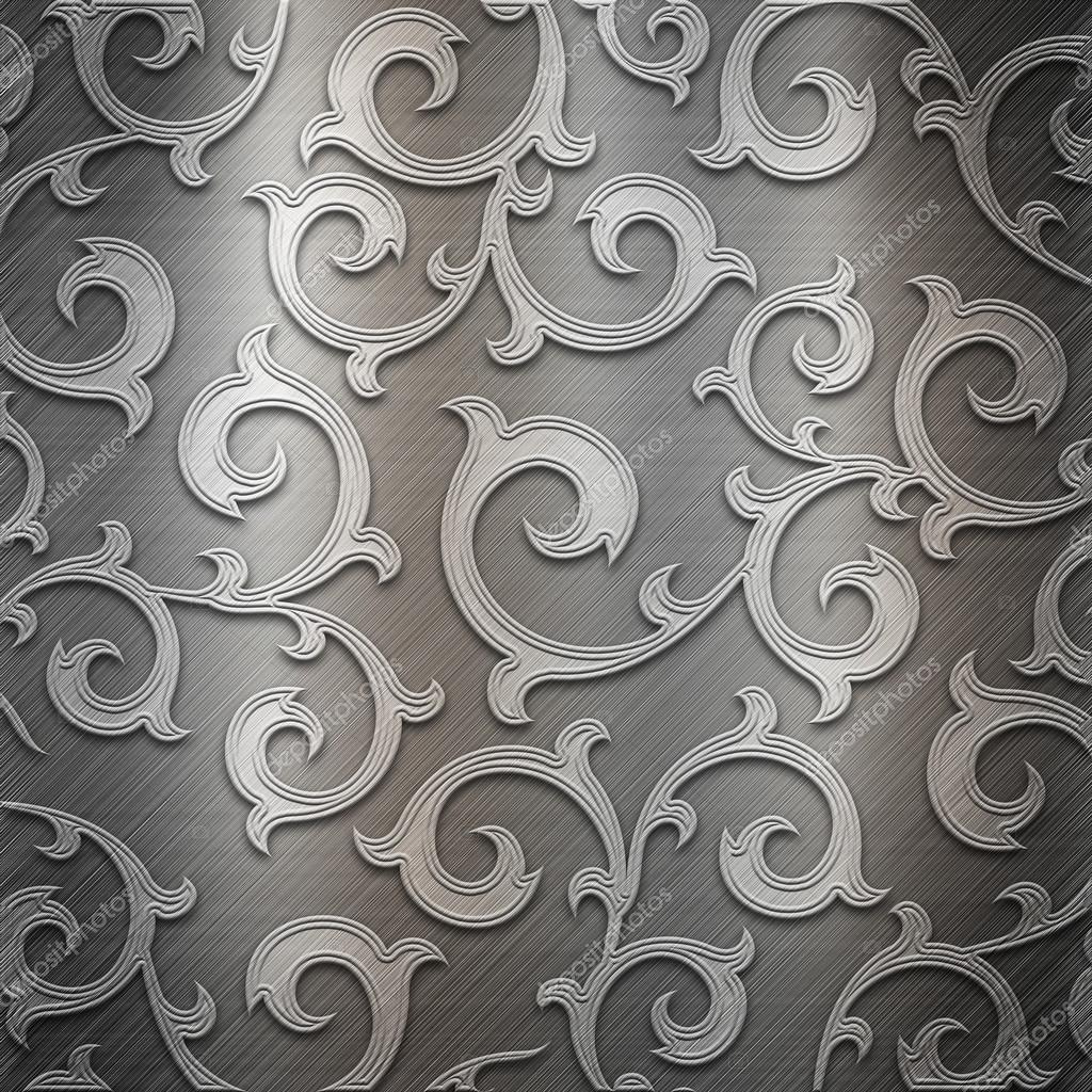 Silver metal plate with classic ornament — Stock Image © Artem Gusak #