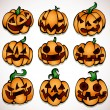 Halloween pumpkin collection — Stock Vector