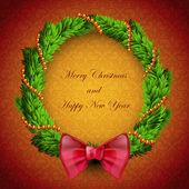クリスマスの花輪 — ストックベクタ