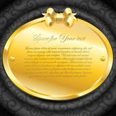 Placa dourada em tecido preto de luxo — Vetor de Stock