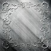 Zilver metalen plaat met klassieke ornament — Stockfoto