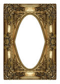 Vintage gold picture frame isolated on white — Stock Photo