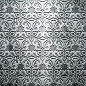 Silver metallplatta med klassiska ornament — Stockfoto