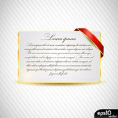 Paper card with ribbon — Stock Vector