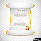 White manuscript with gold medal — Stock Vector