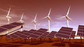 Wind turbines and solar panels during sunset — Stock Photo