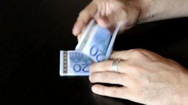 Dvě ruce muže počítání eurobankovky dvaceti — Stock video