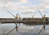 Zwei graue und gelbe Kräne am quay — Stockfoto