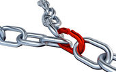 Two Metallic Chains with One Red Link — Stock Photo